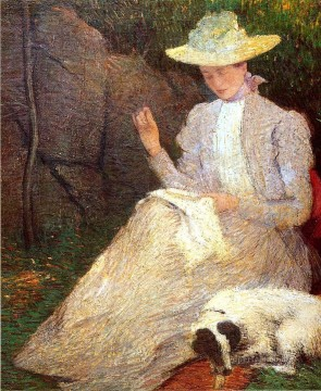 Julian Alden Weir Painting - Summer aka Friends Julian Alden Weir
